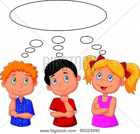 Cartoon kids thinking with white bubble