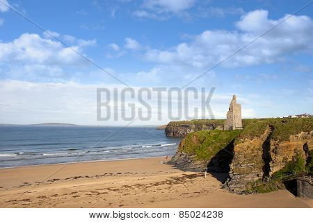 View Of The  Ballybunion Beach Castle And Cliffs