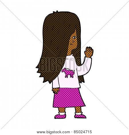 retro comic book style cartoon girl with pony shirt waving