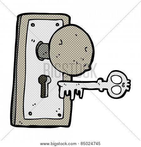 retro comic book style cartoon spooky old door knob