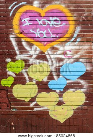 Graffiti On The Wall With Hearts