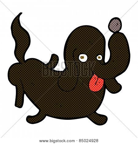 retro comic book style cartoon dog sticking out tongue