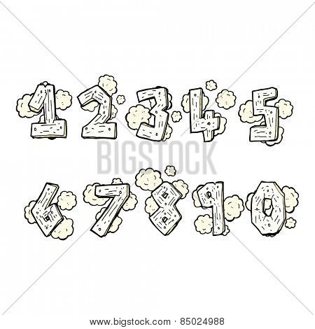 retro comic book style cartoon wooden numbers