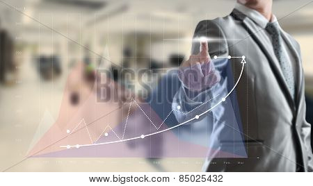 Businessman Woking On High Growth Graph, Business Concept