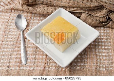 Coconut Custard Made From Eggs And Coconut Milk,  In White Bowl On Fabric
