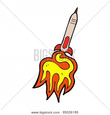 retro comic book style cartoon missile