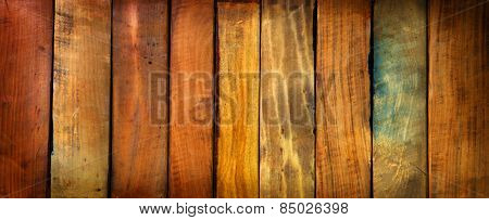 Vintage pieces of wood aligned background. Wide format.