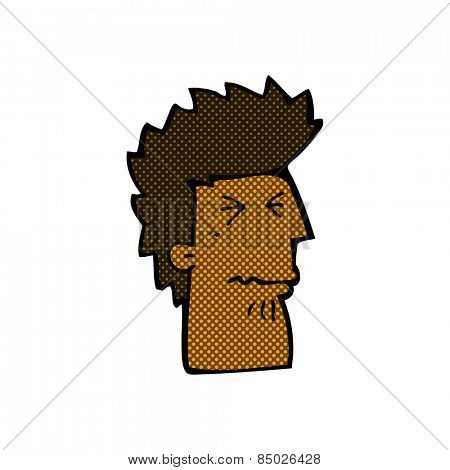 retro comic book style cartoon unhappy man