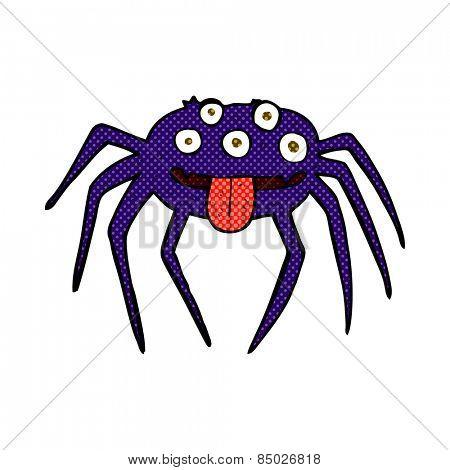 retro comic book style cartoon gross halloween spider