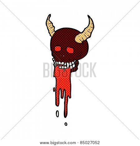retro comic book style cartoon spooky halloween skull