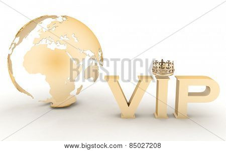 VIP abbreviation with a crown. 3D text on a globe background