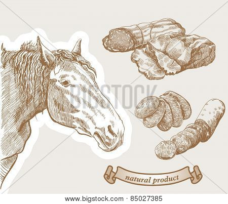 Horse and natural horse meat products