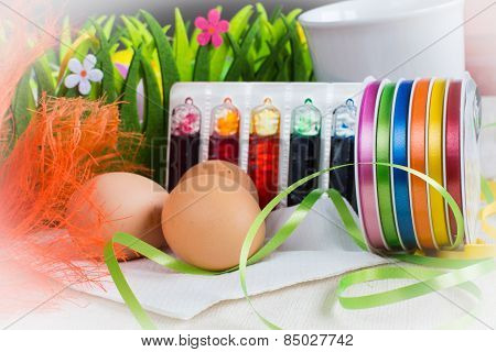 Colorful Dyes And Ribbons For Easter Eggs Preparation
