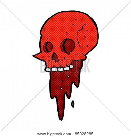 gross halloween skull retro comic book style cartoon