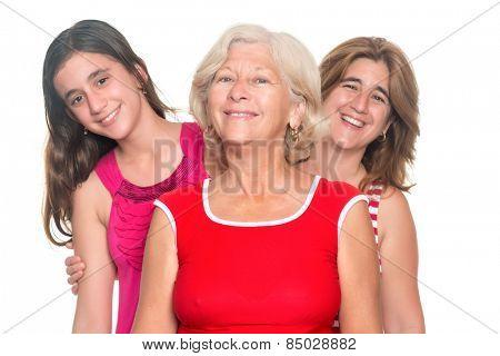 Three generations of hispanic women smiling isolated on white