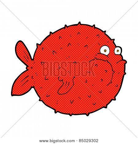 retro comic book style cartoon puffer fish
