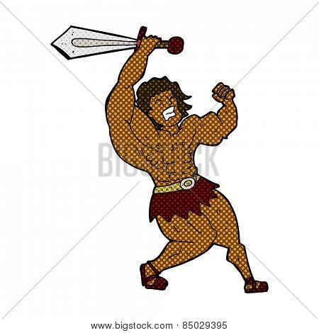 retro comic book style cartoon barbarian hero