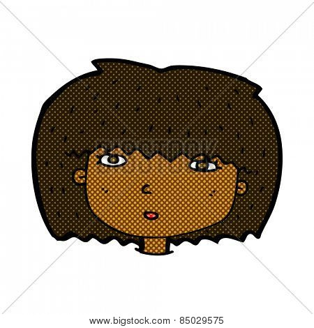 retro comic book style cartoon female face