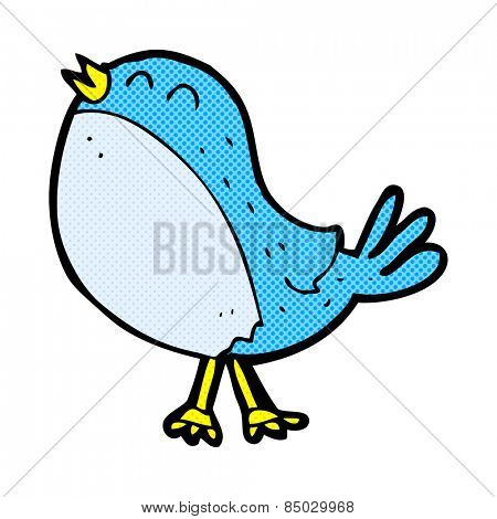 retro comic book style cartoon singing bird