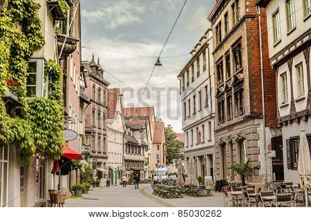 ULM, GERMANY - MAY 12,2014 - In the old streets of Ulm in may 12, 2014. Ulm is a city in the federal German state of Baden-Warttemberg, situated on the River Danube.