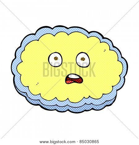 shocked retro comic book style cartoon cloud face