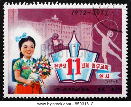 Postage Stamp North Korea 1977 Schoolgirl