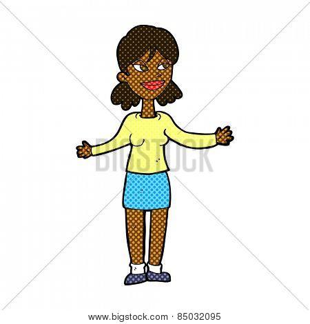 retro comic book style cartoon happy woman shrugging shoulders