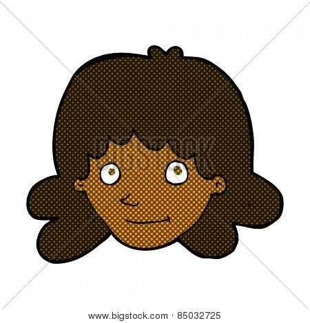 retro comic book style cartoon happy female face