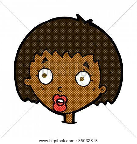 retro comic book style cartoon surprised female face