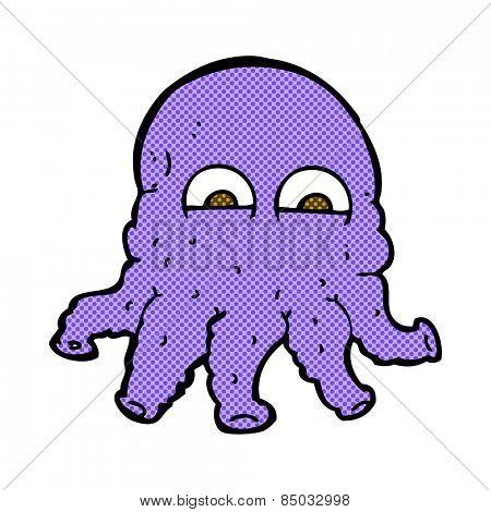retro comic book style cartoon alien squid face