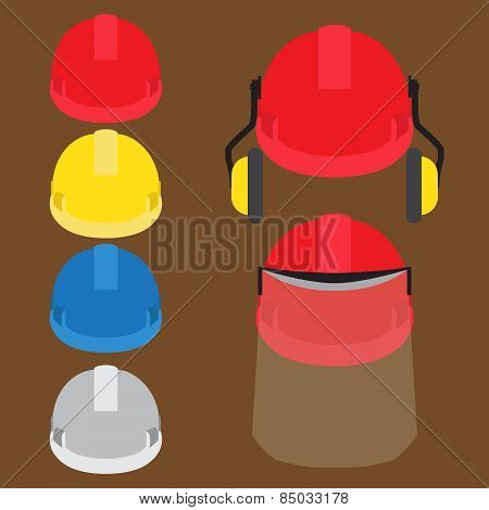 worker's helmets