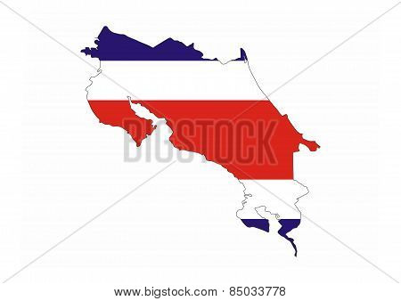Costa Rica Flag Map