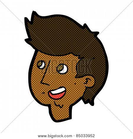 retro comic book style cartoon happy boy face