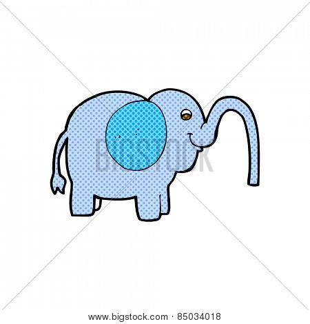 retro comic book style cartoon elephant squirting water