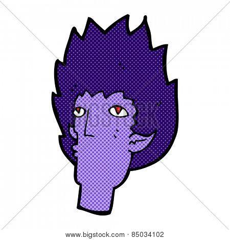 retro comic book style cartoon vampire face