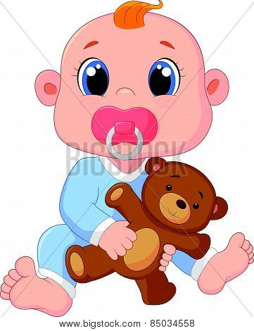 Cartoon Baby Boy With Pacifiers and Toys