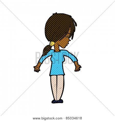 retro comic book style cartoon woman shrugging shoulders