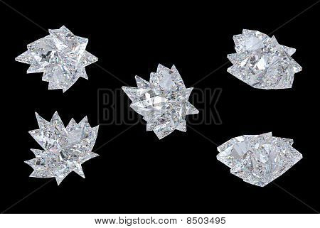 Side Views Of Maple Leaf Diamond Over Black
