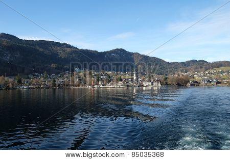 ST. GILGEN, AUSTRIA - DECEMBER 14: St. Gilgen on Wolfgang See lake, Austria on December 14, 2014.