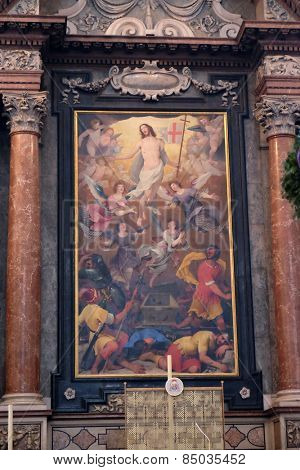 SALZBURG, AUSTRIA - DECEMBER 13: The altar of the Resurrection of Christ, Salzburg Cathedral on December 13, 2014 in Salzburg, Austria.