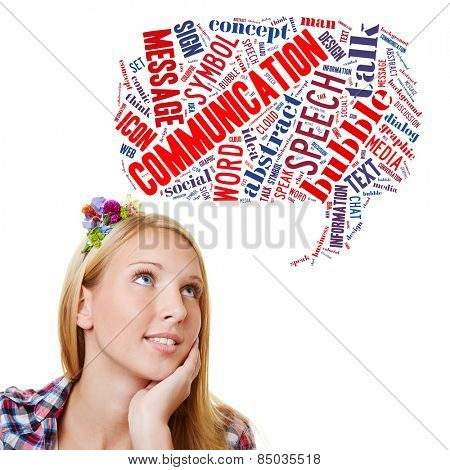 Young woman with communication tag cloud in speech bubble