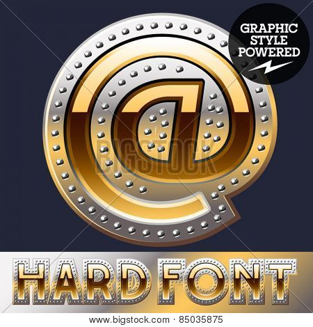 Vector set of bold luxury font in gold color with riveted border. Symbols 3