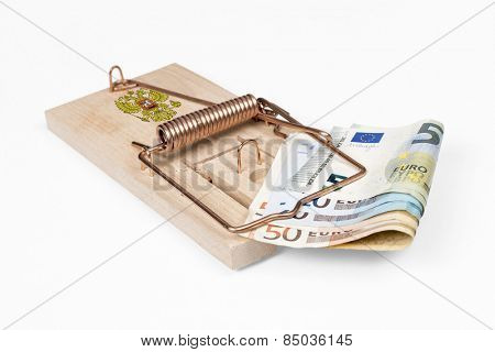 Russian mouse trap with Euro bill isolated over white with clipping path.
