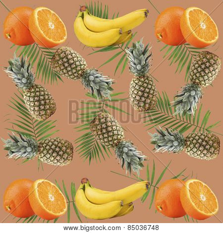 Tropical background with oranges, pineapples, bananas and green palm leaves