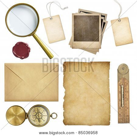 Old mail, paper, price tags, polaroid frames, wax seal, compass isolated