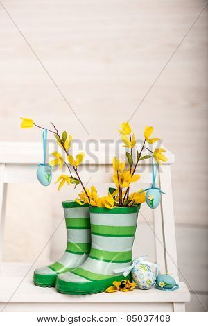 Easter decoration in rubber boots