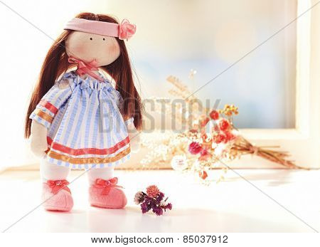 Handmade doll near window close-up
