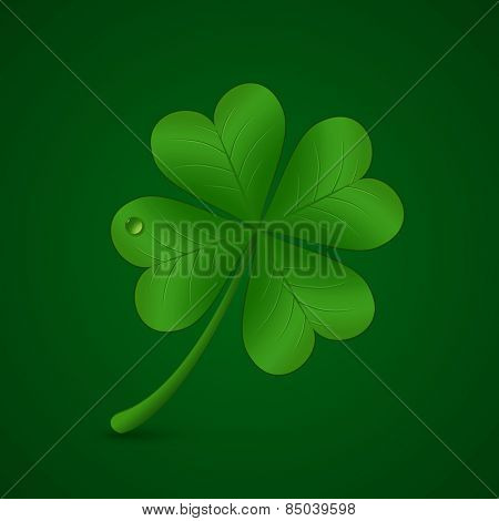 Four leaf lucky clover. Vector illustration. St. Patricks day symbol