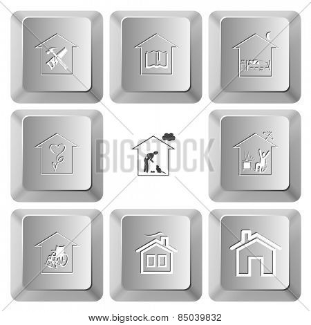 Home set. Vector set computer keys.
