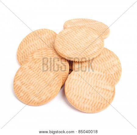 Round cookies isolated on white background